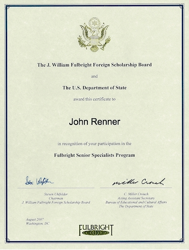 NJ lawyer John Renner educational achievement J. William Fulbright Foreign Scholarship