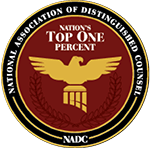 Certificate for Top 1% of attorneys to be part of the National Associations of Distinguished Counsel