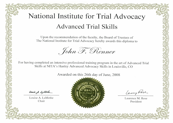 John Renner NJ Attorney National Institute for Trial Advocacy